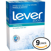 (PACK OF 9 BARS) Lever 2000 ORIGINAL SCENT Bar Soap for Men & Women. NON-DRYING! Great for Healthy Feeling Hands, Face & Body!