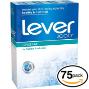 (PACK OF 75 BARS) Lever 2000 ORIGINAL SCENT Bar Soap for Men & Women. NON-DRYING! Great for Healthy Feeling Hands, Face & Body!