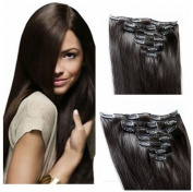 Futuretrend@50cm JET BLACK (Col 1). Full Head Clip in Human Hair Extensions. High quality Remy Hair!
