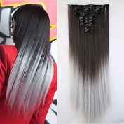 S-noilite 26 inchs Long Straight Ombre Clin in Hair Extensions 8pcs Hairpiece Extension Many Colours for Girl Lady Women