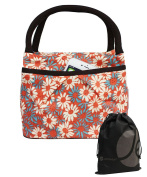 JAVOedge White / Pink Double Pocket Daisy Pattern Lunch Bag Tote with Zipper, Pouch and Handle with Bonus Drawstring Bag