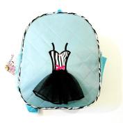 Girls Blue Black Quilted Zebra Tutu Dress Applique Backpack
