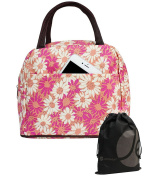 JAVOedge Pink / White Fabric Daisy Pattern Lunch Bag Tote with Zipper and Carrying Handle + Bonus Drawstring Stroage Bag