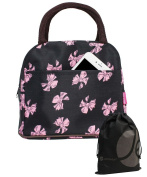 JAVOedge Pink Ribbon Pattern Fabric Lunch Bag Tote with Zipper and Carrying Handle, Bonus Drawstring Storage Bag