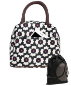 JAVOedge Black and White and Pink Fabric Carnation Pattern Lunch Bag Tote with Zipper and Handle + Bonus Drawstring Bag