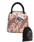 JAVOedge Pink, Blue and White Fabric Daisy Pattern Lunch Bag Tote with Zipper and Handle, Bonus Drawstring Bag