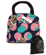 JAVOedge Turquoise / Pink Pop Fashion Pattern Lunch Bag Tote with Zipper and Handle + Bonus Drawstring Storage Bag