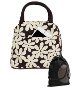 Large White and Brown Daisy Lunch Bag Tote with Zipper and Handle