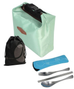 JAVOedge Lightweight Mint Thermal Insulated Lunch Bag with Buckle Snap and Utensils Bundle with Bonus Drawstring Bag