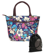 JAVOedge Colourful Blue, Pink, and White Double Pocket Floral Pattern Lunch Bag Tote with Zipper and Handle + Bonus Bag