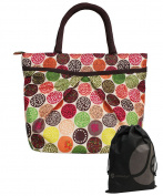 JAVOedge Colourful Polka Dot Pocket Lunch Bag Tote with Zipper Closure and Handle and Bonus Drawstring Storage Bag