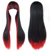 Prettybuy Harajuku Style Mixed Black/ Red Long Straight Cosplay Wig f