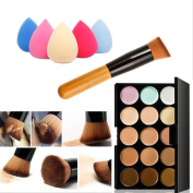 Mefeir 15 Colours Professional Concealer Camouflage Makeup Palette Contour Face Contouring Kit + Oblique Head Contour Makeup Brush with Free Makeup Sponge Blender