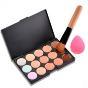 Yonala Professional 15 Colours Face Makeup Camouflage Palette with Free Oblique Head Powder Brush and Sponge Puff