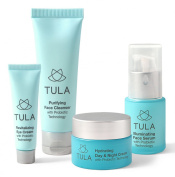 TULA Starter Kit with Probiotic Technology - Travel-friendly Facial Cleanser, Day & Night Moisturiser, Face Serum & Eye Cream for Balanced and Youthful Skin