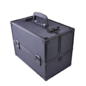 Large Professional Makeup Cosmetic Train Storage Case with Key Lock in Matt Black