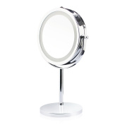 ANART® Reflections LED Lighted Collection Mirror, Two-sided Magnifying (1X-5X) 360 Degree Swivel Vanity Makeup Mirror, Polished Chrome Finish