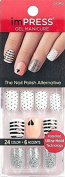 """KISS imPRESS """"NIGHT FEVER"""" 2x Longer Lasting Short Nails by Broadway Press-On Manicure Nails"""