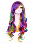 LongOu women's 70cm Long Rainbow Big Wavy Synthetic Hair Cosplay Wig