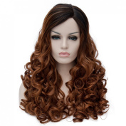 Anogol Women's Fashion Curly Dark Roots Ombre Hair Wigs for Party Natural Wavy Lolita Harajyuku Layered Fancy Dress Brown Cosplay Wig DM-716