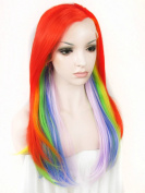 Ebingoo Halloween Fashion Wome's Lace Front Wig Long Rainbow Natural Wavy Wave Synthetic Heat Resistant Hair Lovely Party Wigs N2 TF2403A JLS347