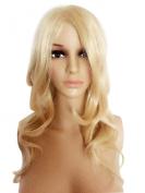 LongOu womes's big wave golden hair fashion wig