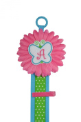 Monogrammed Initial Girls Hair Bow Holder with Butterfly and Hot Pink Daisy Wall Hanging Display for Accessories