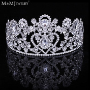 Fashion Big Top Crystal White Gold Plated Bridal Hair Jewellery Tiara and Crown Wedding Hair Accessories for Women