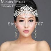 Hot Selling Luxurious Leaf Bridal Frontlet Teardrop Crystal Bridal Hair Accessories Wedding Accessories