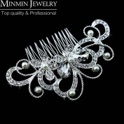 New Design Butterfly Crystal Bridal Hair Combs Pearl Tiara Hair Accessories Wedding Accessories Hairpin