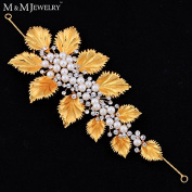 Simulated Pearl Crystal 14K Gold Plated Headband Hair Accessories Hairpins Bridal Wedding Hair Jewellery