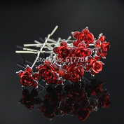 10Pcs/Set Best Gift for Bride Rose Crystal Hairpins Bridal Hair Accessories Hair jewellery Wedding Accessories