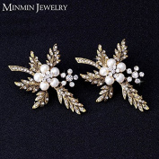 2 Pcs/Set Bride Simulated Pearl Hair Jewellery Gold Plated Flower Bridal Hairpins Hair jewellery Wedding Hair Accessories
