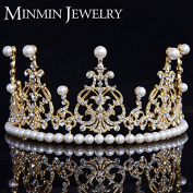 Top Crystal Simulated Pearl Jewellery 14k Gold Plated Tiara Crown Wedding Hair Accessories Gorgeous Bridal Hair Jewellery
