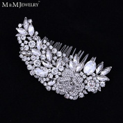 Luxurious Leaf Sharp Czech Rhinestone Bridal Hair Combs Hair Accessories Wedding Hair Jewellery Wedding Accessories