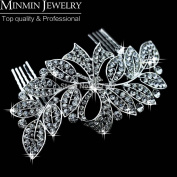 New 100% Luxurious Crystal Leaf Bowknot Imitation Gemstone Bridal Hair Combs Tiara Wedding Hair Accessories Hair Jewellery