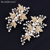 2pcs/set Simulated Pearl Gold Plated Leaves Hairpins Wedding Jewellery Bridal Hair Accessories