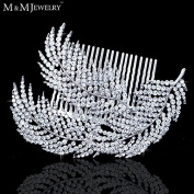 Feather Shape Crystal Bridal Hair Combs Hairpin Imitation Gemstone Bridal Tiara Wedding Hair Accessories Hair Jewellery
