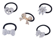 FUMUD 5PCS Silver Plated Rhinestone Stretch Elastic Band Hair Tie Ponytail Holder
