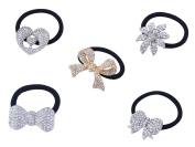 FUMUD 5PCS Silver Plated Rhinestone Stretch Elastic Band Hair Tie Ponytail Holder