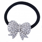 FUMUD 1PCS Women Crystal Rhinestone Bow Hair Band Rope Elastic Ponytail Holder Gift