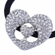 FUMUD 1Pcs New silver rhinestone 5cm hollow heart charm elastic hair ponytail holder fashion headpiece jewellery