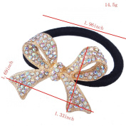 FUMUD New 2016 Women Butterfly Crystal Ponytail Holder Rhinestone Elastic Hair Rope Hairband