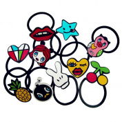 BR Cartoon Graffiti Ouchless Hair Elastics Bands Ponytail Holders - 10 Pc/Set