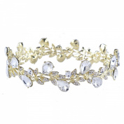 FUMUD 2.5cm Bridesmaid Bridal Wedding Flower Leaf Girl / Baby Round Full Circle Rhinestone Tiara Crown