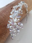 USABride Floral Leaf Crystal Simulated Pearl Rhinestone Headband Botanical Bridal Wedding Silver-Tone Leaves Headpiece TI-3268