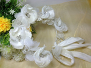 Elegant Luxury White Flower Crown with Adjustable Ribbon for Bridal Wedding Headband : S3