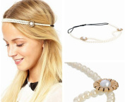 Eforstore Women 2 Layer Pearl Elastic Headband Hair Hoop For Daily Wedding Decoration