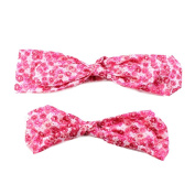 Eforstore Mom and Baby Matching Elastic Headband Floral Hair Band Hair Clasp With Bunny Ear