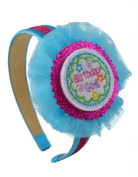 Birthday Girl Glitter and Satin Arch Headband with Tulle Flower